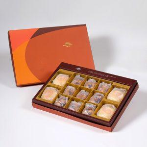 【Orange Gold】13 pcs Gift Box★Pork Mung Bean Traditional Mooncake*2+Mung Bean Traditional Mooncake*2+Mixed Nut Tart*9