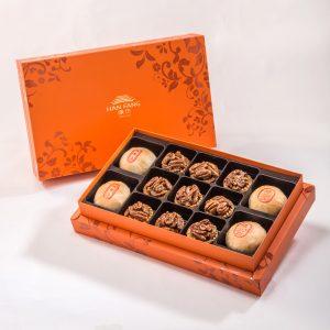 【Orange Gold】13 pcs Gift Box★Pork Mung Bean Traditional Mooncake*2+Mung Bean Traditional Mooncake*2+Coffee Pecan Nut Tart*9
