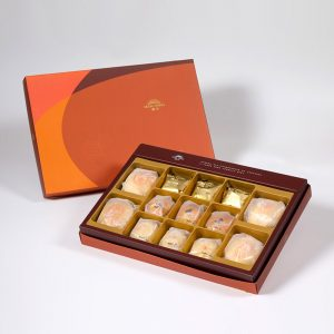 【Orange Gold】13 pcs Gift Box★Pork Mung Bean Traditional Mooncake*2+Mung Bean Traditional Mooncake*2+Traditional Pineapple Cake*3+Golden Salty Yolk Duels Mooncake*3+Mini Pork Mung Bean Mooncake*3
