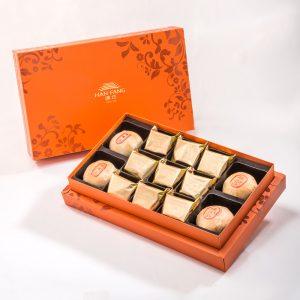 【Orange Gold】13 pcs Gift Box★Pork Mung Bean Traditional Mooncake*2+Mung Bean Traditional Mooncake*2+Traditional Pineapple Cake*9