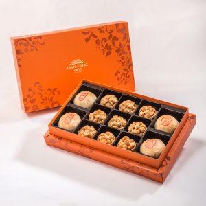 【Orange Gold】13 pcs Gift Box★Pork Mung Bean Traditional Mooncake*2+Mung Bean Traditional Mooncake*2+Macadamia Nut Tart*9