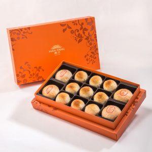 【Orange Gold】13 pcs Gift Box★Pork Mung Bean Traditional Mooncake*2+Mung Bean Traditional Mooncake*2+Golden Salty Yolk Duels Beans Mooncake*9