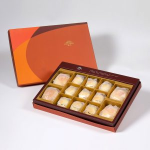 【Orange Gold】13 pcs Gift Box★Pork Mung Bean Traditional Mooncake*2+Mung Bean Traditional Mooncake*2+Golden Salty Yolk Duels Beans Mooncake*9