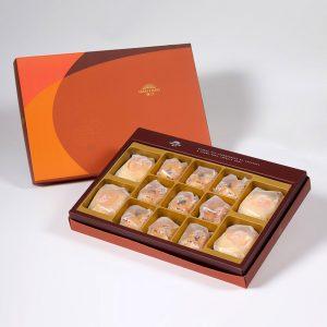【Orange Gold】13 pcs Gift Box★Pork Mung Bean Traditional Mooncake*2+Mung Bean Traditional Mooncake*2+Golden Salty Yolk Duels Mooncake*9