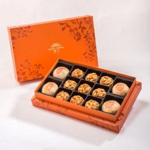 【Orange Gold】13 pcs Gift Box★Pork Mung Bean Traditional Mooncake*2+Mung Bean Traditional Mooncake*2+Spicy Macadamia Nut Tart*9