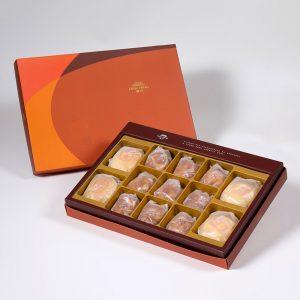 【Orange Gold】13 pcs Gift Box★Pork Mung Bean Traditional Mooncake*2+Mung Bean Traditional Mooncake*2+Spicy Macadamia Tart*9