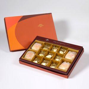【Orange Gold】13 pcs Gift Box★Pork Mung Bean Traditional Mooncake*2+Mung Bean Traditional Mooncake*2+Salty Yolk Pineapple Cake*9