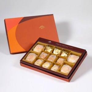 【Orange Gold】13 pcs Gift Box★Pork Mung Bean Traditional Mooncake*2+Mung Bean Traditional Mooncake*2+Pineapple Cake*3+Salty Yolk Mung Bean Mooncake*3+Golden Duel Beans Mooncake*3