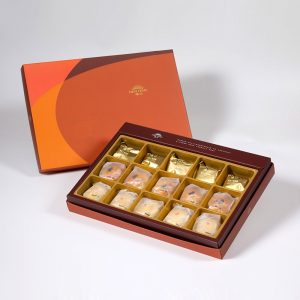 【Orange Gold】15 pcs Gift Box★Traditional Pineapple Cake*5+Golden Salty Yolk Duels Mooncake*5+Mini Pork Mung Bean Mooncake*5