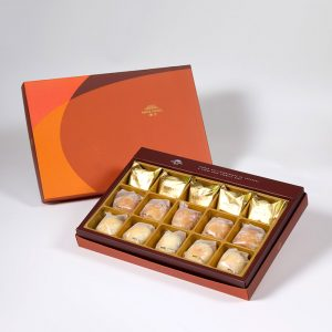 【Orange Gold】15 pcs Gift Box★Pineapple Cake*5+Salty Yolk Mung Bean Mooncake*5+Golden Duel Beans Mooncake*5