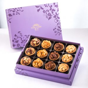 【Royal Purple】12 pcs Gift Box★Mixed Nuts Tart*3 + Original Macadamia Nuts Tart*3 + Spicy Macadamia Nuts  Tart*3 + Coffee Pecan Nuts Tart*3