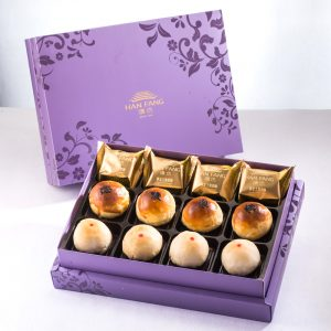 【Royal Purple】12 pcs Gift Box★Traditional Pineapple Cake*4+Golden Salty Yolk Duels Mooncake*4+Mini Pork Mung Bean Mooncake*4