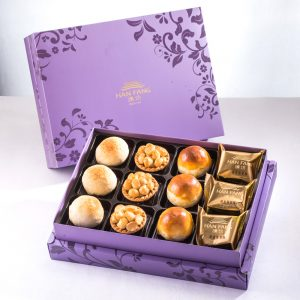 【Royal Purple】12 pcs Gift Box★Taiwan Traditional Pineapple Cake*3 + Mung Bean Yolk Pastry*3 + White Bean And Mung Bean Mooncake*3 + Original Macadamia Nuts Tart*3