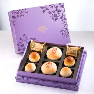 【Royal Purple】8 pcs Gift Box★Pork Mung Bean Traditional Mooncake*1+Mung Bean Traditional Mooncake*1+Pineapple Cake*2+Salty Yolk Mung Bean Mooncake*2+Golden Duel Beans Mooncake*2