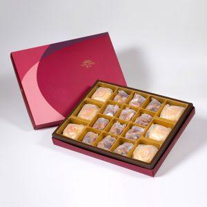 【Ruby Red】18 pcs Gift Box★Pork Mung Bean Traditional Mooncake*3+Mung Bean Traditional Mooncake*3+Mixed Nut Tart*12