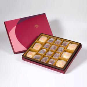 【Ruby Red】18 pcs Gift Box★Pork Mung Bean Traditional Mooncake*3+Mung Bean Traditional Mooncake*3+Coffee Pecan Tart*12