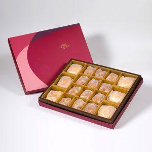 【Ruby Red】18 pcs Gift Box★Pork Mung Bean Traditional Mooncake*3+Mung Bean Traditional Mooncake*3+Macadamia Tart*12