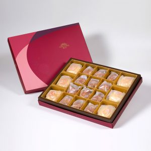 【Ruby Red】18 pcs Gift Box★Pork Mung Bean Traditional Mooncake*3+Mung Bean Traditional Mooncake*3+Spicy Macadamia Tart*12