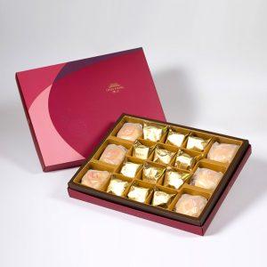 【Ruby Red】18 pcs Gift Box★Pork Mung Bean Traditional Mooncake*3+Mung Bean Traditional Mooncake*3+Salty Yolk Pineapple Cake*12