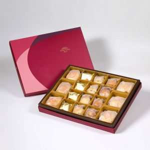 【Ruby Red】18 pcs Gift Box★Pork Mung Bean Traditional Mooncake*3+Mung Bean Traditional Mooncake*3+Pineapple Cake*4+Salty Yolk Mung Bean Mooncake*4+Golden Duel Beans Mooncake*4