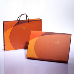 【Orange Gold】13 pcs Gift Box★Pork Mung Bean Traditional Mooncake*2+Mung Bean Traditional Mooncake*2+Macadamia Tart*9