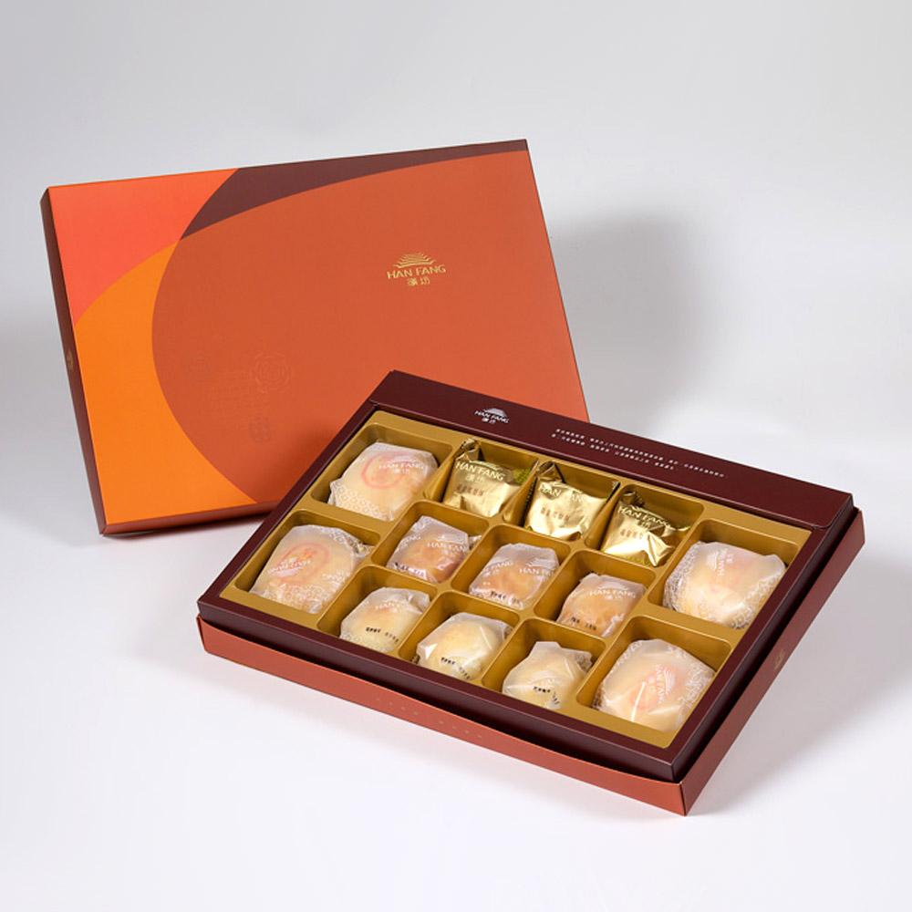 【御藏】綜合13入禮盒★綠豆椪2+純綠豆椪2+鳳梨酥3+蛋黃酥3+漢坊金沙小月3