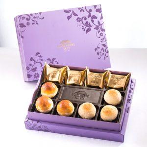 【臻饌】綜合10入禮盒★鳳梨酥*4+蛋黃酥*3+金沙小月*3(蛋奶素)